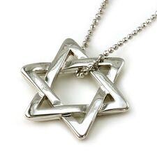Jewish Star of David Necklace Pendant High Polish Silver Tone Design Star Jewel