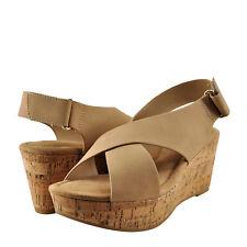 Women's Shoes City Classified Mason Crisscross Platform Cork Wedge Natural *New*