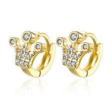 Luxury 18 k Gold Plated Crown Women Girls Small Hoops First Earrings E1022