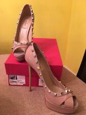 Valentino Garavani Poudre Rockstud Patent Leather High Heel Platform Shoes 39