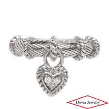 Judith Ripka White Stone Sterling Silver Dangle Heart Ring 6.5 Grams NR