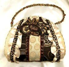 Designer Vintage Purse Evening Bag W/Sequins & Seed Beads & Metallic Threads