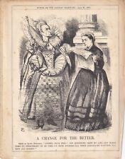 1869 Punch Cartoon Irish Church Bill Agreed at Last Elizabeth's Ghost & Victoria