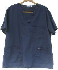Landau Navy Blue Solid Scrub Medical Nursing Uniform Top Size Large Style 7489