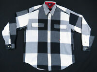 Vintage 90s Tommy Hilfiger Black White Check Checkered Long Sleeve Shirt Mens L