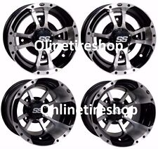 SET OF FOUR ITP SS112 Rims MACHINED BLK WHEELS ARCTIC CAT DVX400 CAN AM DS450