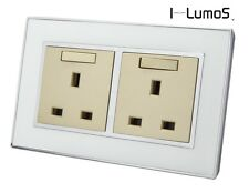 I LumoS AS White Mirror Glass & Gold 13A Single/Double Sockets & Light Switches