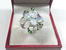 925 STERLING SILVER OPAL CHROME DIOPSIDE RUBY SIZE 8.5 RING