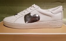 NEW MICHAEL MICHAEL KORS WOMEN KEATON HEART LEATHER SNEAKERS SHOES SIZE 8 WHITE