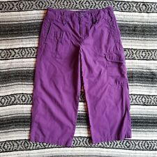 Women's Vintage Ralph Ralph Lauren Sz 4 Ripstop Cargo Cropped Capri Pants Purple