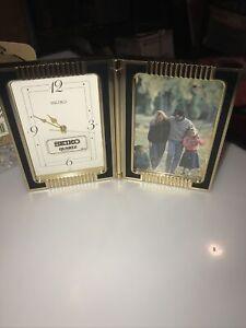 Seiko Quartz Desk table Clock Japan Picture Frame  QQZ299k NEW