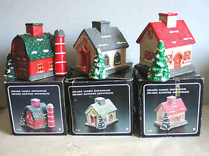 3 Vintage Ceramic SNOWHOUSES Candle or Electric church shop barn in box FREE SH