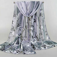 Elegant Women Chiffon Rose Flowers Feather Printed Scarf Shawl Soft Wrap Scarves