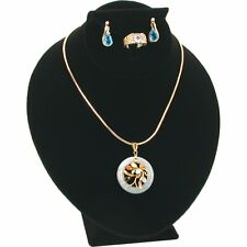 Black Velvet Necklace Earring Ring Combo Bust Jewelry Display 3 1/2""