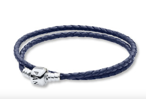 "NEW PANDORA Dark Blue Braided Double-Leather Charm Bracelet 590745CDB-D1 13.8"""