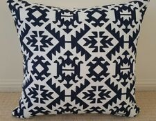 Navy and White Tribal Designer Cushion Cover - 45cm x 45cm