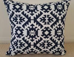 Navy and White Tribal Designer Cushion Cover - 45cm x 45cm