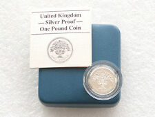1987 Royal Mint inglese Oak £ 1 una sterlina ARGENTO PROOF COIN BOX COA