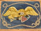 Antique Hooked Rug Eagle Holding Shield 38 x 26