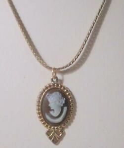 Vintage Cameo Pendant, Brown and White With Gold Chain Necklace.