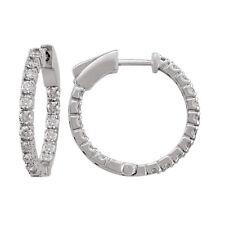14k White Gold Diamond Huggies, 1.00tdw (NEW hoop earrings design, 20.7mm) 4462