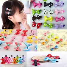 10Pcs Toddler cute Girl Hair Clip Ribbon Bow Baby Kids Satin Bowknot Headband