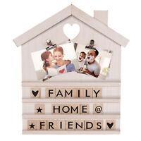 Letterboard mit Platz für Fotos, Weiße Buchstabentafel aus Holz, Deko Holzhaus