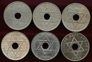 British West Africa 1910-1926 lot of 6 X 1 penny coins
