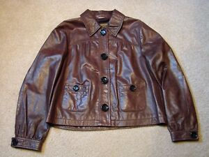 MK Michael Kors Brown Leather Button Up Women's Jacket/Coat w/ Pockets - Large