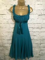 Ted Baker Ladies Teal Green Silk Fit & Flare Evening Dress Size 1 UK 8 US 4