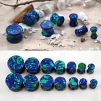 Pair Organic Natural Double Flared Stone Blue Green Azurite Malachite Ear Plugs