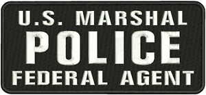 U.S. MARSHAL Police Federal Agent Embroidery Patch 4.75x11 sew on blk/white