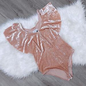 Lucky Brand NWT Blush Pink Velvet Bodysuit Ruffle Front Women's Size Medium