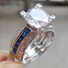 Silver Wedding Ring Set For Women 12# 2.2ct Blue Sapphire Round Cz 925 Sterling