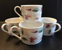 Floral and Leaf Pattern Gibson Housewares Flat China Coffee Mug Cup Set of 5