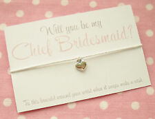 Will You Be My Chief Bridesmaid? Heart Wish Friendship Bracelet & Envelope White