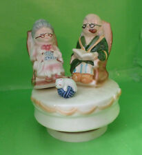 Vintage Rotating Porcelain Music Box from Lefton, Elderly Couple with Cat