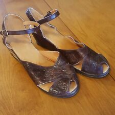 1940s Or 50s Vintage Style Tooled Leather Wedge Shoes 9M