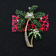 Betsey Johnson Green Rhinestone Enamel Coconut Tree Charm Woman Brooch Pin