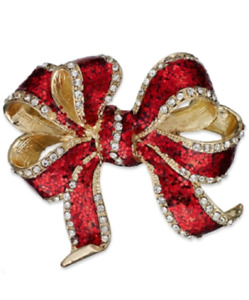 Charter Club Gold-Tone Glass Red Bow Pin