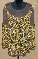 Kaelyn Max II women's plus size sheer with knit shirt tunic brown size 1X