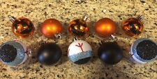 S/10 Halloween Pumpkin Ornaments Jack O lantern Spooky Eye Orange Black Tree