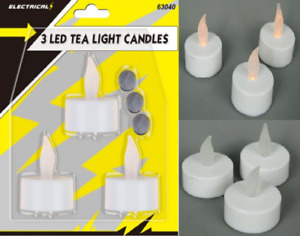 3x LED Flickering Tea Light Candles  Batteries (Included) Operated Safe to Use
