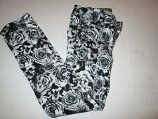 justice girls premium pants size 8 black and white roses skinny jeans