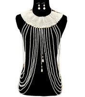 LUXE GATSBY Inspired Statement Gold Cream Pearl Body Chain Set By Rocks Boutique