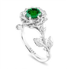 Green Diamond Solitaire Floral Engagement Ring, Platinum 1.01 Carat Certified