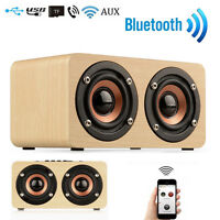 Wooden Portable Bluetooth Speaker Wireless Retro 3D Bluetooth Speaker+USB Cable