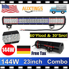 21~23inch 144W CAR LED WORK LIGHT BAR FLOOD SPOT OFFROAD ATV DRIVING UTE JEEP US