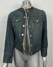 Gap Woman Hoodie Jeans Jacket Sweater Long Sleeve Faux Fur Lined Snap Up Sz XS