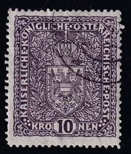 AUSTRIA 1919 USED #175, 10k COAT OF ARMS, GRANIT PAPER !! 19F
